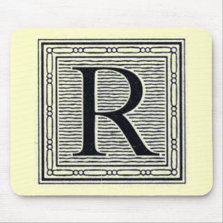 """Block Letter """"R"""" Woodcut Woodblock Inital Mouse Pad"""