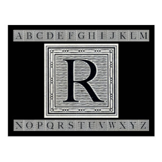 "Block Letter ""R"" Woodcut Woodblock Inital Postcard"