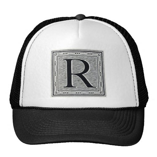 "Block Letter ""R"" Woodcut Woodblock Inital Trucker Hat"