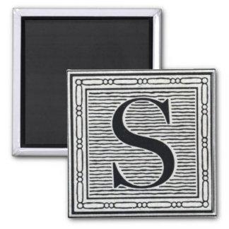 "Block Letter ""S"" Woodcut Woodblock Inital 2 Inch Square Magnet"
