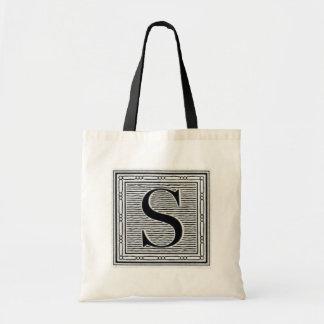 """Block Letter """"S"""" Woodcut Woodblock Inital Bag"""