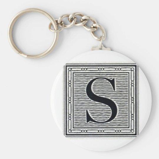 "Block Letter ""S"" Woodcut Woodblock Inital Keychain"