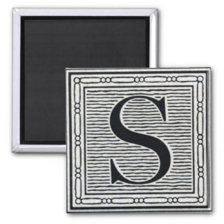 "Block Letter ""S"" Woodcut Woodblock Inital Magnet"
