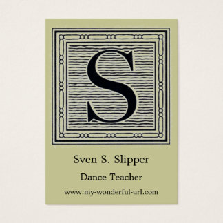 "Block Letter ""S"" Woodcut Woodblock Initial Business Card"