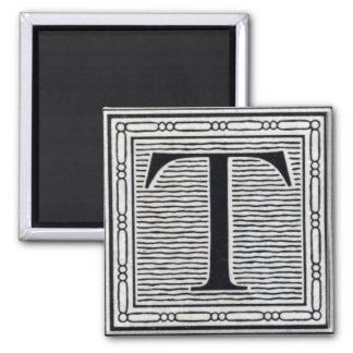 "Block Letter ""T"" Woodcut Woodblock Inital 2 Inch Square Magnet"