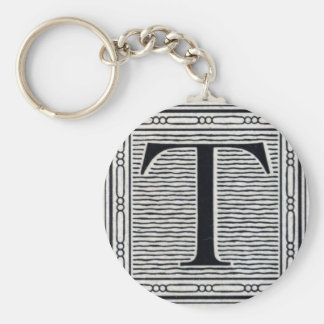 "Block Letter ""T"" Woodcut Woodblock Inital Basic Round Button Keychain"