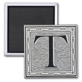"Block Letter ""T"" Woodcut Woodblock Inital Magnet"