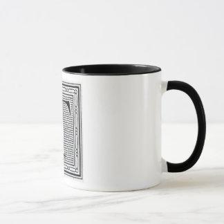 """Block Letter """"T"""" Woodcut Woodblock Inital Mug"""