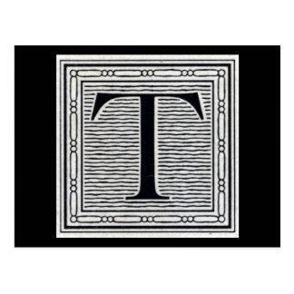 "Block Letter ""T"" Woodcut Woodblock Inital Postcard"