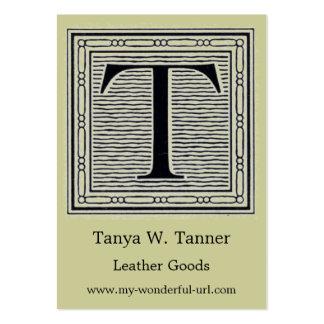 "Block Letter ""T"" Woodcut Woodblock Initial Business Card"