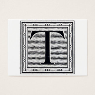 "Block Letter ""T"" Woodcut Woodblock Initial Business Card"