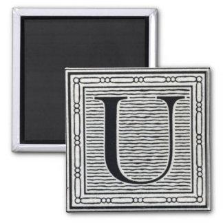 "Block Letter ""U"" Woodcut Woodblock Inital 2 Inch Square Magnet"