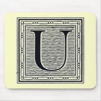 """Block Letter """"U"""" Woodcut Woodblock Inital Mouse Pad"""