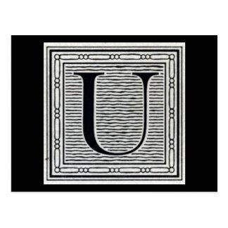 "Block Letter ""U"" Woodcut Woodblock Inital Postcard"