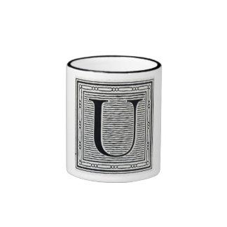 """Block Letter """"U"""" Woodcut Woodblock Inital Ringer Mug"""