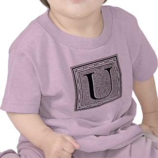 """Block Letter """"U"""" Woodcut Woodblock Inital T-shirt"""