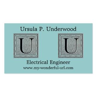 "Block Letter ""U"" Woodcut Woodblock Initial Business Cards"