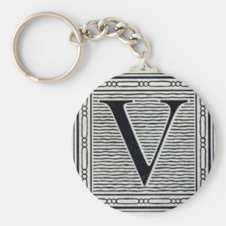 "Block Letter ""V"" Woodcut Woodblock Inital Basic Round Button Keychain"