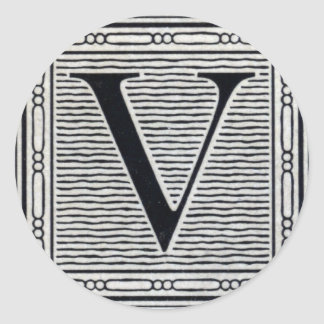 "Block Letter ""V"" Woodcut Woodblock Inital Classic Round Sticker"