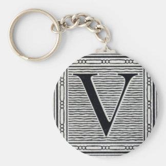 "Block Letter ""V"" Woodcut Woodblock Inital Keychain"