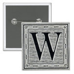 """Block Letter """"W"""" Woodcut Woodblock Inital 2 Inch Square Button"""