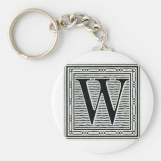 "Block Letter ""W"" Woodcut Woodblock Inital Basic Round Button Keychain"