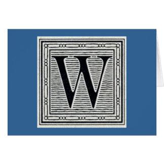block letter w woodcut woodblock inital card