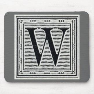 """Block Letter """"W"""" Woodcut Woodblock Inital Mouse Pad"""