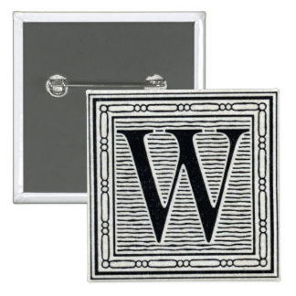 "Block Letter ""W"" Woodcut Woodblock Inital Pins"