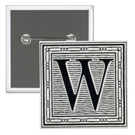 Block Letter W Woodcut Woodblock Inital Pins