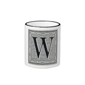 """Block Letter """"W"""" Woodcut Woodblock Inital Ringer Mug"""