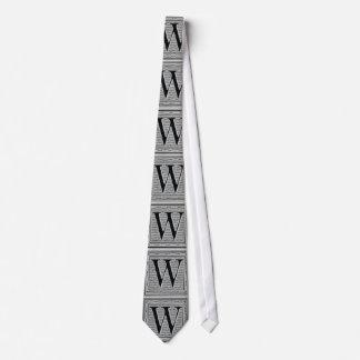 "Block Letter ""W"" Woodcut Woodblock Inital Tie"