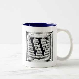 "Block Letter ""W"" Woodcut Woodblock Inital Two-Tone Coffee Mug"