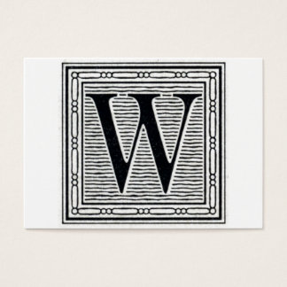 "Block Letter ""W"" Woodcut Woodblock Initial Business Card"