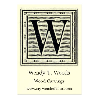 """Block Letter """"W"""" Woodcut Woodblock Initial Large Business Card"""
