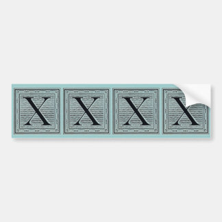"Block Letter ""X"" Woodcut Woodblock Inital Bumper Sticker"