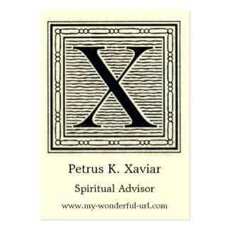 """Block Letter """"X"""" Woodcut Woodblock Initial Large Business Card"""