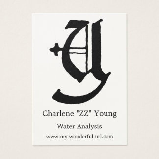 "Block Letter ""Y"" Woodcut Woodblock Inital Business Card"