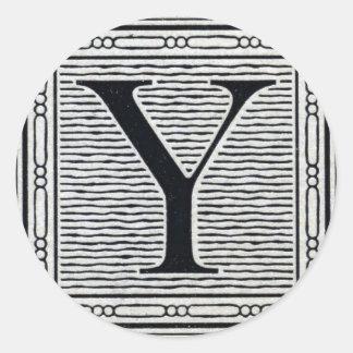"Block Letter ""Y"" Woodcut Woodblock Inital Classic Round Sticker"