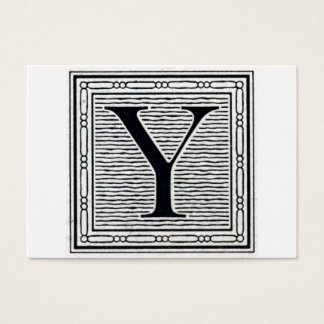 "Block Letter ""Y"" Woodcut Woodblock Initial Business Card"