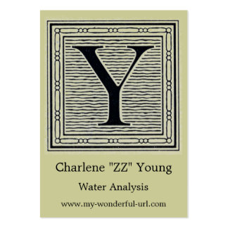 """Block Letter """"Y"""" Woodcut Woodblock Initial Large Business Card"""