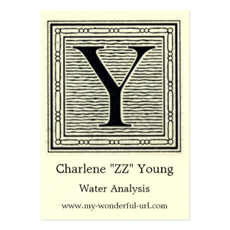 """Block Letter """"Y"""" Woodcut Woodblock Initial Large Business Cards (Pack Of 100)"""