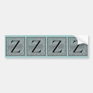 "Block Letter ""Z"" Woodcut Woodblock Inital Bumper Sticker"