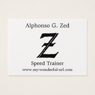 "Block Letter ""Z"" Woodcut Woodblock Inital Business Card"