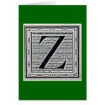 """Block Letter """"Z"""" Woodcut Woodblock Inital Card"""