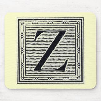 """Block Letter """"Z"""" Woodcut Woodblock Inital Mouse Pad"""