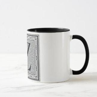 """Block Letter """"Z"""" Woodcut Woodblock Inital Mug"""