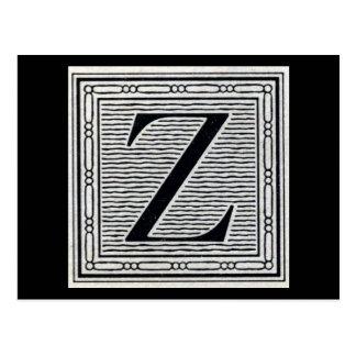 "Block Letter ""Z"" Woodcut Woodblock Inital Postcard"