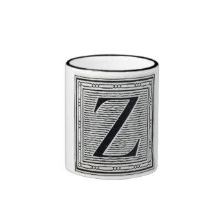 """Block Letter """"Z"""" Woodcut Woodblock Inital Ringer Mug"""