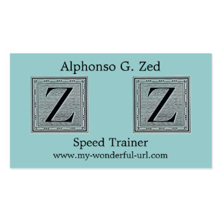 "Block Letter ""Z"" Woodcut Woodblock Initial Business Card"